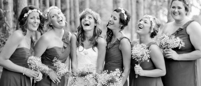 Bride and bridesmaids bw