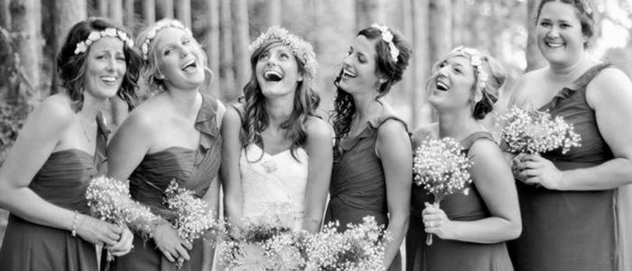 Bride and bridesmaids bw